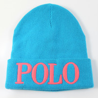 Polo Ralph Lauren Adult Cuff Ribbed Blue/Pink Beanie Hat