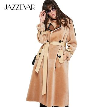 2017 winter new fashion women's double-breasted trench coat long woollen coat for office lady with leather belt