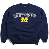 University of Michigan Established 1817 & Bar M Hanes Ultimate Crewneck Sweatshirt Navy (Large)