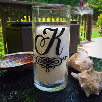 Set of 6 Custom Personalized Wedding Glass Candle Holders