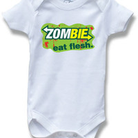 Zombie Eat Flesh Funny Saying Baby One Piece Bodysuit for Boys and Girls Cute Baby Shower Gift