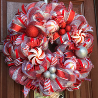 Christmas Wreath / Red Silver Deco Mesh, Candy Cane Peppermint Holiday Wreath Holiday Decor Christmas Decor
