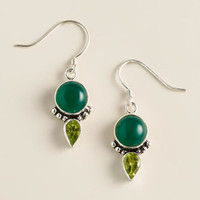 Green Onyx and Peridot Drop Earrings - World Market