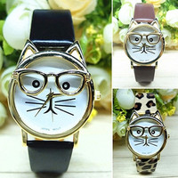 Fashion Women Men's Cute Glasses Cat Case Leather Strap Bracelet Wristwatch Christmas Gift
