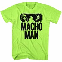 MACHO MAN-OOOLD SCHOOL-NEON GREEN HEATHER ADULT S/S TSHIRT