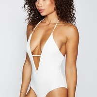 Lily Plunging Halter One Piece Swimsuit - White