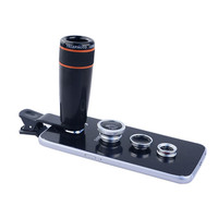 4in1 12x black Zoom Telescopic Optical Lens & Macro & Wide angle Lens & Fish Eye Lens with clip for iphone samsung HTC Xiaomi