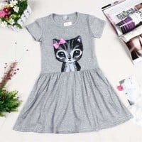 HOT Summer Baby girl dress princess cat print solid cotton baby girl clothes short sleeve dress kid for baby girls cute dresses