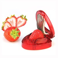 New Plastic Strawberry Slicer Fruit Carving Knife Cutter With 7 Stainless Steel Sharp Blade Kitchen Gadgets