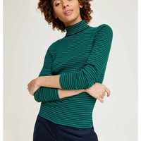 Daya Roll Neck Top Green and black