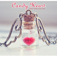 Candy Heart Tiny glass Bottle Necklace. heart bottle. Glass Vial necklace miniature Bottle Pendant Cute Necklace heart necklace