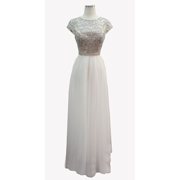 Off White Beaded A-line Long Formal Dress with Cap Sleeves