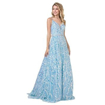 Sequins Long Prom Dress with Spaghetti Straps Ice Blue