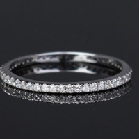 Pave Diamond Wedding Band Eternity Anniversary Ring 14K White Gold SI/H - THIN Design