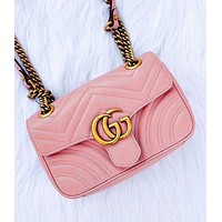 Gucci Women Fashion Wave Print Big Double G Button Bag Shoulder Bag Crossbody Bag Pink