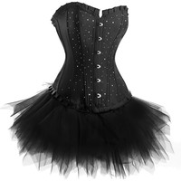 Black Diamante Corset with Tutu