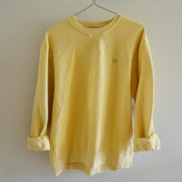 Yellow Izod Crewneck Sweatshirt Vintage Oversized 90s XL