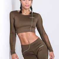 Aria 'Khaki' Crop Top
