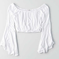 Don't Ask Why Flare Sleeve Top , White