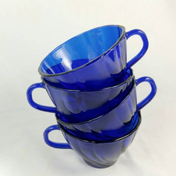 Vintage Vereco France Cobalt Tea Cups/Blue Teacups/Vintage Swirl Coffee Cups/Blue Twist Punch Cups (Lot of 4)