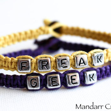 Freak and Geek Couples or Friendship Bracelets Made with High Quality Purple and Yellow Hemp Cord, Made to Order Custom Gift