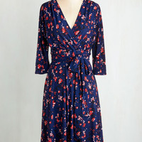 Long 3 Wrap Station Mate Dress in Roses