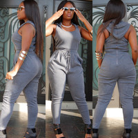 Grey Sleeveless Hooded Jumpsuit