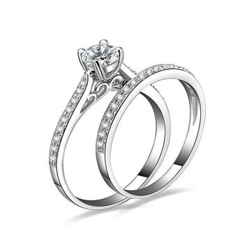 1ct AAA CZ Engagement Wedding Bridal Sets Ring 925 Sterling Silver Sz.5 6 7 8 9 10 = 1931815108
