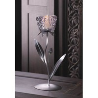 Silvery Glass Bloom Candle Holder