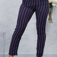 Giselle Striped Pants - Navy/Red