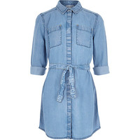 River Island Girls blue denim shirt dress