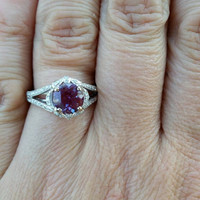 Amazing Signed Parade  VS1-2 Diamond 18KT  Wedding Ring .50 points of diamonds  1.25  point center  GREAT Color change Synthetic Alexandrite