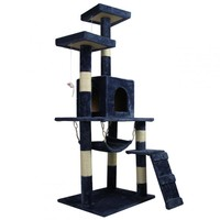 "New Navy Blue 57"" Cat Tree Condo Furniture Scratch Post Pet House 5777"