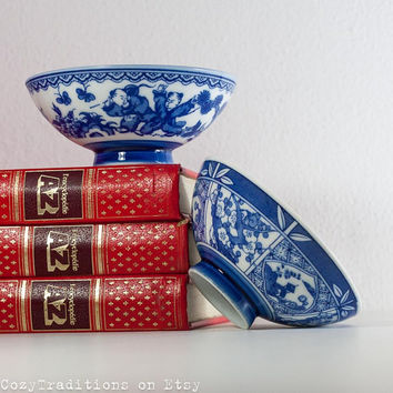 Cobalt Blue Bowls: Vintage Porcelain Tiny Cereal Bowls Decorated with a Cherry Blossom & People, Skura, China Hallmark
