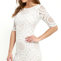Doily Do Right Beige and Ivory Lace Bodycon Dress