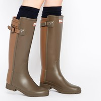 Hunter Original Refined Back Strap Green Wellington Boots