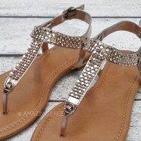 Roses Are Gold Rhinestone Rosegold Sandals