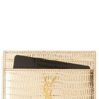 Saint Laurent Monogram Snake Embossed Leather Card Case | Nordstrom