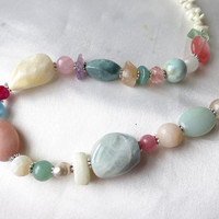 Spring rainbow gemstone & coral necklace. Colorful Hippy Boho long statement beads. Summer beach colors. Unique gift for her! OOAK