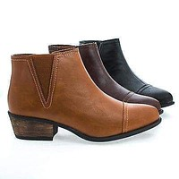 Sadie04 By Bamboo, Pointy Toe Western Zip Up Faux Wooden Heel Ankle Boots