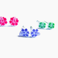 Hawaii Flower Earrings, Set of 3 Extra Small Stud Earrings Hibiscus Flower Small Stud Earring Purple, Fuchsia and Green Polymer Clay Jewelry
