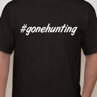 Mens Black Tshirt #gonehunting. Hashtag tshirt for men.mens clothing.mens t-shirt.hunting t-shirt.hunter. gone hunting.gift for hunter.