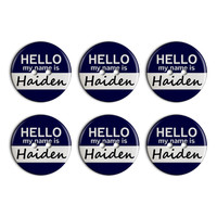 Haiden Hello My Name Is Plastic Resin Button Set of 6