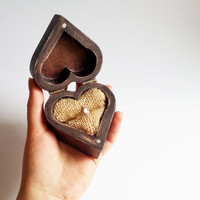 Patinated heart shaped engagement ring box, rustic looking old vintage jute burlap