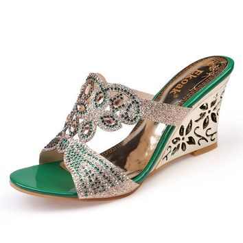 Summer Fashion Women Sandals Sexy Rhinestone Butterfly Cut-outs High Heels Wedges Sandals Party Shoes Woma