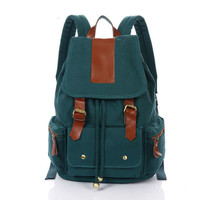 Retro Leather Canvas School Backpack Nice Large Travel Rucksack