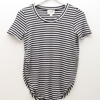 LA Hearts Striped Scoop Neck Top - Womens Tee