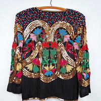 80's Art Deco Sequined Blazer // Braxae Vintage Co // Retro Embellished Beaded Evening Jacket S M