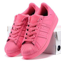 """""""Adidas"""" Fashion Shell-toe Flats Sneakers Sport Shoes Pure color Roses"""