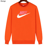 NIKE 2019 new sports and leisure classic print logo long-sleeved sweater Orange